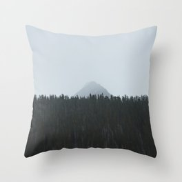 Minimalist Landscape Photo Tall Trees Mountain In The Background Throw Pillow