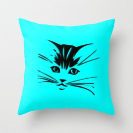Aqua Kitty Cat Face Throw Pillow