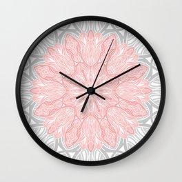 MANDALA IN GREY AND PINK Wall Clock