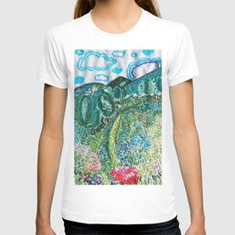 cheerful handmade embroidery in the digital world T-shirt