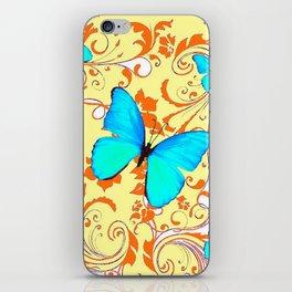 DECORATIVE BLUE BUTTERFLIES YELLOW FLORAL PATTERN iPhone Skin