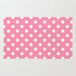 Small Polka Dots - White on Flamingo Pink Rug