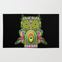psychedelic art Area & Throw Rugs featuring Owl Psychedelic Art Design by BluedarkArt