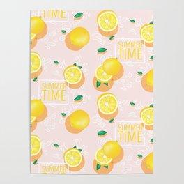 Watercolor Lemon Pattern Poster