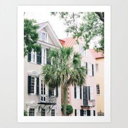Pink and Green Charleston Historic Homes Art Print