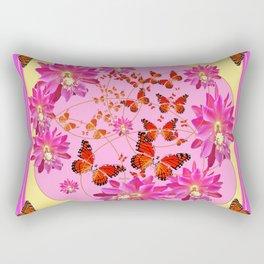 Fuchsia Pink Monarch Butterfly Abstract Rectangular Pillow