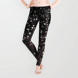 Blush Gray Black Lady Glitter #2 #shiny #decor #art #society6 Leggings