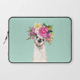 Flower Crown Llama in Green Laptop Sleeve
