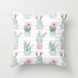 Cute Potted Cacti Stripe Pattern Throw Pillow