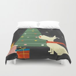 Little White Christmas Westie Duvet Cover