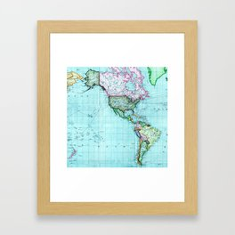 Turquoise Map Pattern Framed Art Print
