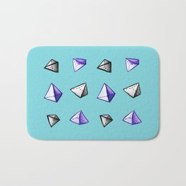 Blue Geometric Watercolor Pyramid Pattern Bath Mat