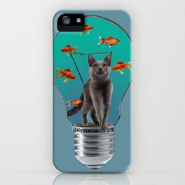 Bulb with grey cat and goldfishes iPhone Case