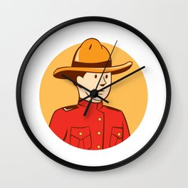 Mounted Police Officer Bust Circle Cartoon Wall Clock