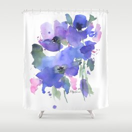 Blue Poppies and Wildflowers Shower Curtain