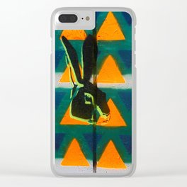Triangle Rabbit Street Art Clear iPhone Case