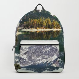 Green Blue Lake, Trees and Mountains Backpack