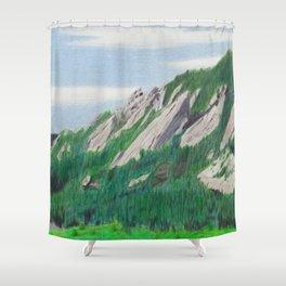 Boulder Flatirons in the Summer Shower Curtain