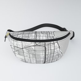 Chicago city map white Fanny Pack