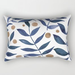 Watercolor berries and branches - indigo and beige Rectangular Pillow