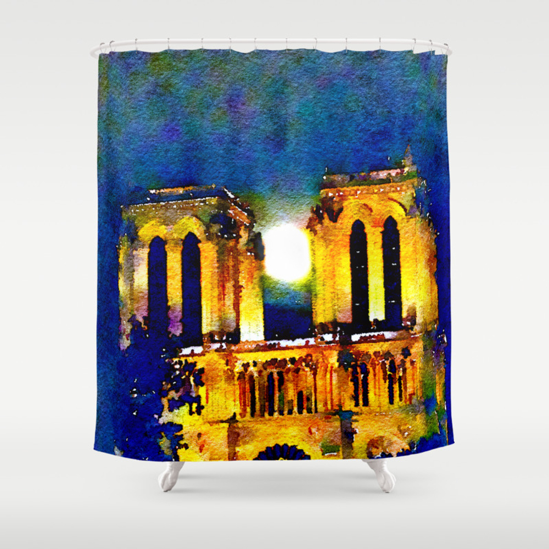 Notre Dame De Paris Full Moon Shower Curtain by Dreneewilson CTN7511315