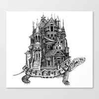 discworld Canvas Prints featuring Turtle City by Meridith Rodgman