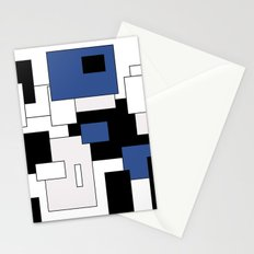 Squares - blue, gray, black and white. Stationery Cards