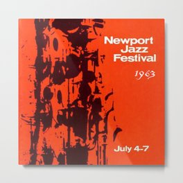 1963 Newport Jazz Festival Vintage Advertisement Poster Newport, Rhode Island Metal Print