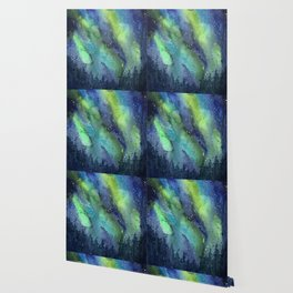 Galaxy Aurora Northern Lights Nebula Space Watercolor Wallpaper
