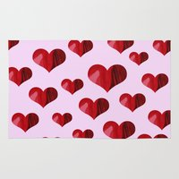 hearts Area & Throw Rugs featuring Hearts by Marjolein