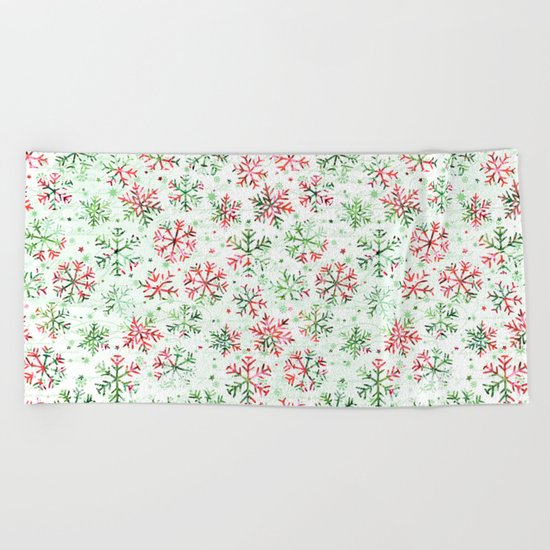 Red Green Snowflakes Beach Towel