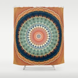 Dark Indigo Blue Orange Mandala Shower Curtain
