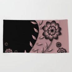 Bridal Rose Floral Abstract Beach Towel