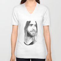 jared leto V-neck T-shirts featuring Jared Leto by Art by Cathrine Gressum
