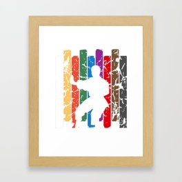 Retro Karate Pose Silhouette Framed Art Print