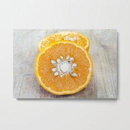 half-cut orange Metal Print