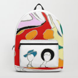 Abstract illustration of two girls Backpack