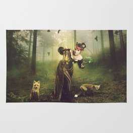 Foxes and crows Rug