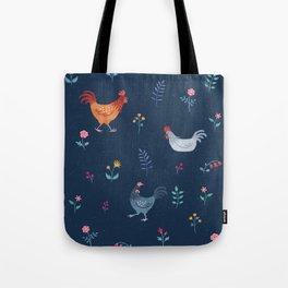Little Hens (blue) Tote Bag