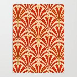 Art Deco Fan Pattern, Mandarin Orange Poster