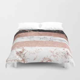Modern chic color block rose gold marble stripes pattern Duvet Cover
