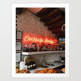 """Neon """"Cocktails Baby"""" Sign in London Coffee Shop Art Print"""