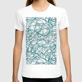 Tropical Dark Teal Abstract Thick Scribble Mosaic Pattern Inspired by Sherwin Williams 2020 Trending Color Oceanside SW6496 on Off White T-shirt