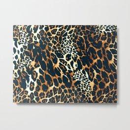 Leopard fur animal print hand painted vintage illustration pattern Metal Print
