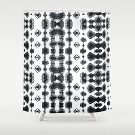 Shibori Ikat Habotoi BW Shower Curtain