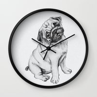 pug Wall Clocks featuring Pug by Maripili