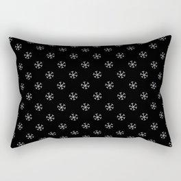 Gray on Black Snowflakes Rectangular Pillow