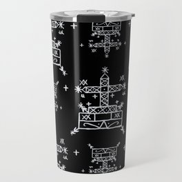 Baron Samedi Voodoo Veve Symbols in Black Travel Mug