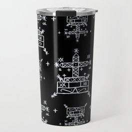 Baron Samedi Voodoo Veve Symbols in Black Travel Mug