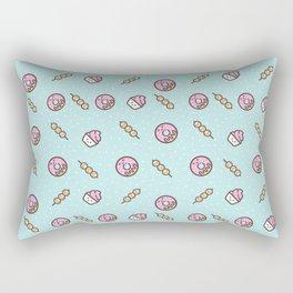 Cute funny teal blush pink food sweet donuts polka dots Rectangular Pillow